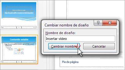 Cambiar el nombre de un diseño de diapositiva