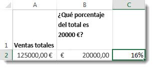 125.000 $ en la celda a2, 20.000 $ en la celda b2, y 16% en la celda c2