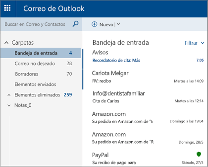 Pantalla principal de Outlook.com o Hotmail.com