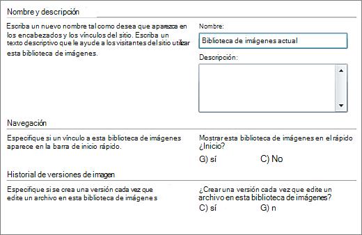 Cuadro de diálogo para agregar el nombre, diagrama, navegación de inicio rápido y control de versiones.
