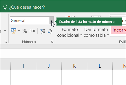 Cuadro de lista de formato de número