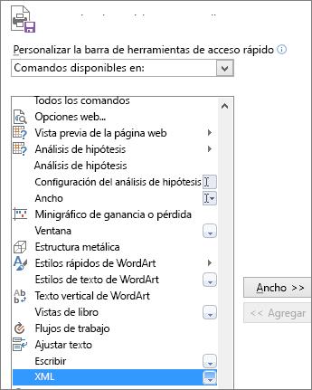 En la lista de comandos, elija XML y luego haga clic en Agregar.