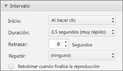 Modificar los intervalos del efecto con las propiedades de intervalo en el panel Animaciones