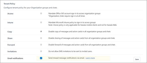 Captura de pantalla de la página directivas de inquilino en Kaizala.