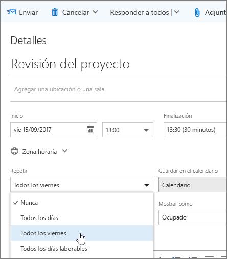 Captura de pantalla del panel de eventos Nuevo calendario que muestra el cuadro Repetir.