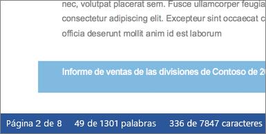 Documento con el número de caracteres en la barra de estado