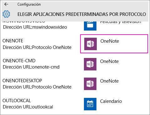 Captura de pantalla de los protocolos de OneNote en Configuración de Windows 10.