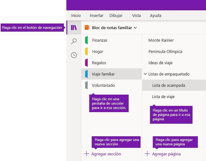 Secciones y páginas en OneNote para Windows 10