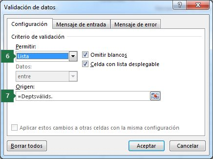 Seleccione la configuración de esta lista desplegable en la pestaña Configuración en Excel
