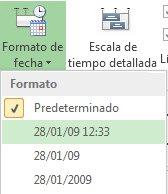 Menú y botón de formato de fecha de la escala de tiempo en Project