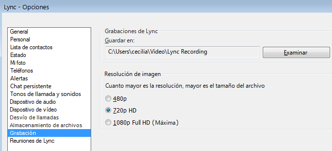Captura de pantalla de resolución y ubicación de grabaciones