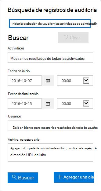 Haga clic en Empezar a registrar las actividades administrativas y de usuarios para activar la auditoría