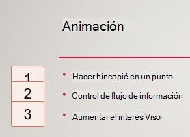 Números en los cuadros izquierdos, entre, indicar la presencia de animación en la diapositiva.