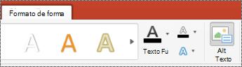 Botón texto alternativo para las formas de la cinta de PowerPoint para Mac