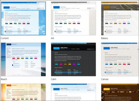 Página de selección de plantillas de Office 365, en la que se muestran plantillas opcionales de diseño y tema para el sitio público