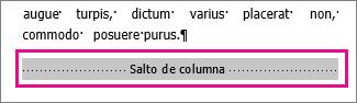 """selección de un salto de columna con """"Mostrar Formato"""" activado"""
