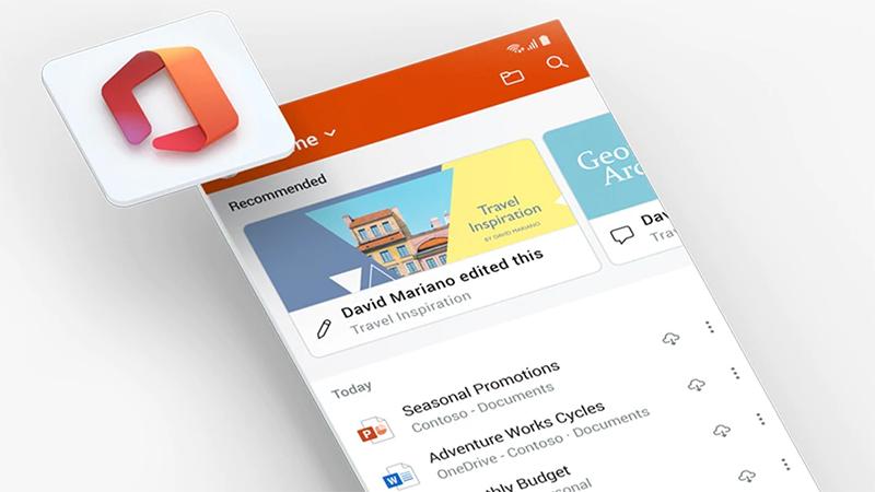 Pantalla de la aplicación de Office en un teléfono móvil