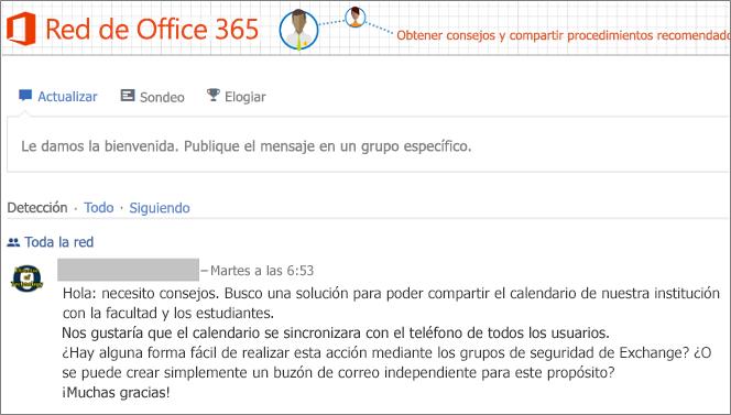 Página principal de la red de Office 365
