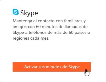 Captura de pantalla que muestra dónde activar los minutos de Skype.