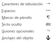 Estos son los caracteres de formato disponibles en los mensajes de correo electrónico.