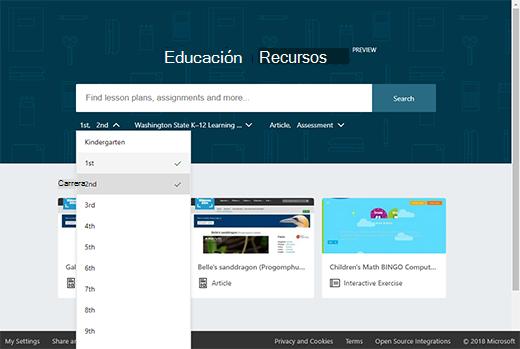 Página principal de recursos educativos con lista desplegable de filtros
