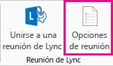 Captura de pantalla de las opciones de Reunión de Lync en la cinta de opciones