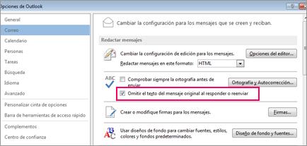 Opción para omitir la corrección ortográfica para el texto original en mensajes de respuesta o reenviados