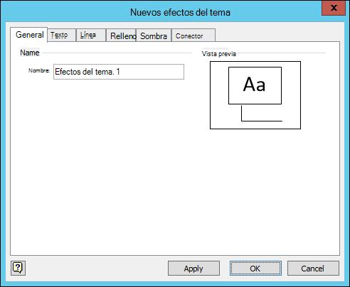 Captura de pantalla que muestra el cuadro de diálogo Crear nuevos efectos del tema