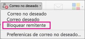 La opción Bloquear remitente está resaltada en la lista de Correo no deseado.