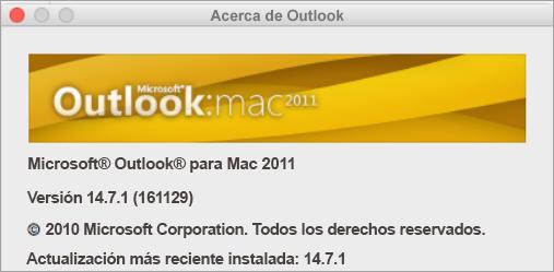 En el cuadro Acerca de Outlook se indica Outlook para Mac 2011.