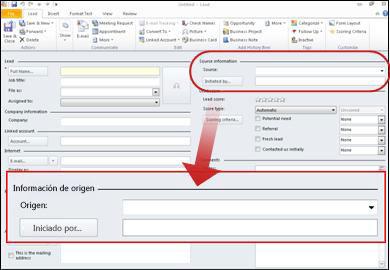 Captura de pantalla que muestra la sección de información de origen del registro