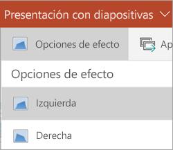 Opciones de efectos