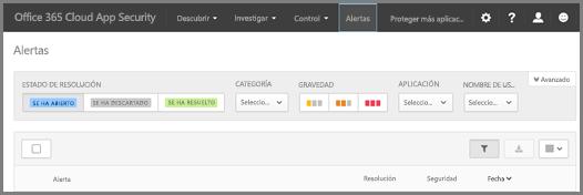 En la página de alertas, puede ver las alertas que se han activado y las acciones tomadas.