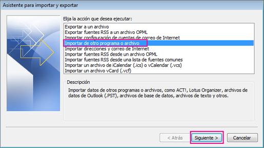 Elija importar de otro programa o archivo.