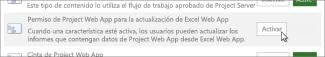 Permiso de Project Online para actualizar Excel Online