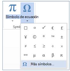 En el menú Símbolo, haga clic en Más símbolos.
