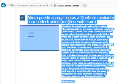 Captura de pantalla que muestra parte de una página web seleccionado para copiar.