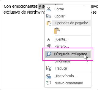 La Búsqueda inteligente se resalta al hacer clic con el botón derecho en un texto o una imagen