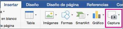 Característica de captura de pantalla de Office 2016 para Mac