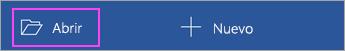 Pulse Abrir desde la pantalla de inicio de la aplicación.
