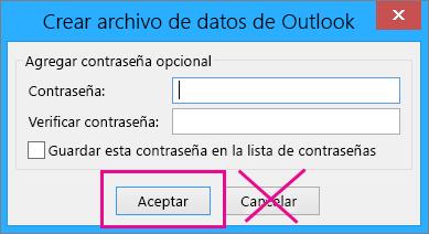 Al crear un archivo pst, haga clic en Aceptar incluso si no desea asignarle una contraseña