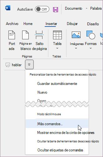 Agregar un comando personalizado en la barra de herramientas de acceso rápido