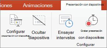 Haga clic en la ficha Presentación con diapositivas
