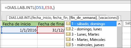 Lista de Intellisense mostrando 2 - Domingo, Lunes; 3 - Lunes, Martes, etc.