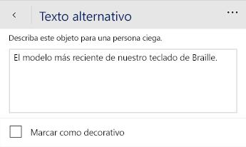 Cuadro de diálogo de texto alternativo de Word Mobile