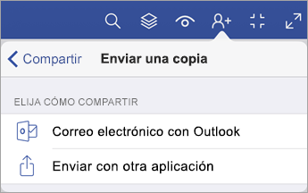 Menú Enviar una copia que muestra dos opciones para compartir un archivo: a través de correo electrónico con Outlook o enviar con otra aplicación.