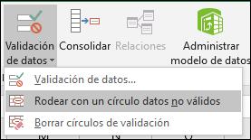 Círculo datos no válidos en la cinta de opciones