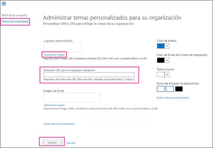Elija el logotipo, escriba la dirección URL de su sitio de grupo y, después, elija Guardar.