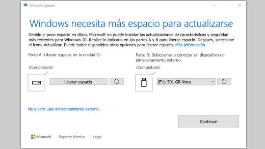 Mensaje Windows necesita más espacio para realizar la actualización