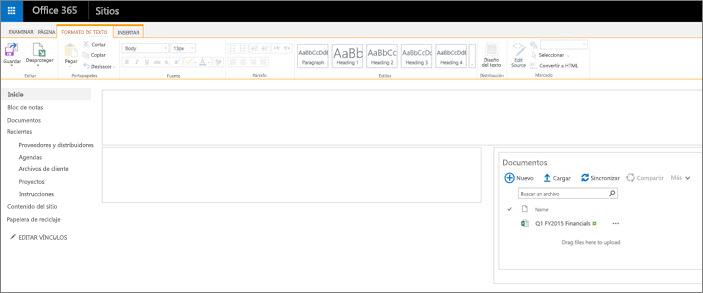 Una página de sitios de grupo con solo una biblioteca de documentos.